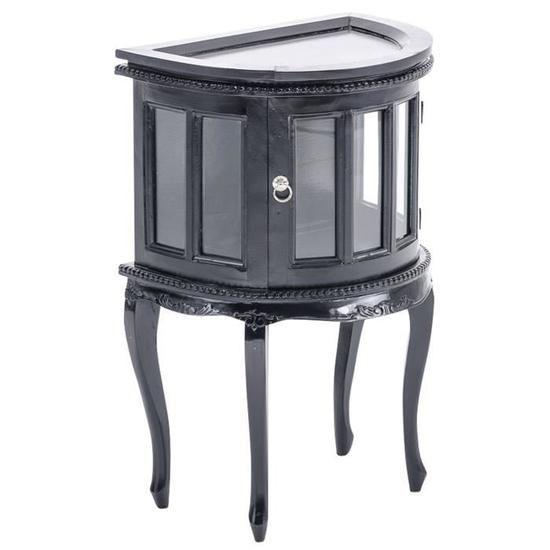 Table à thé noir avec vitrine fermée