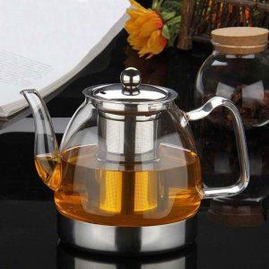 théière ou bouilloire à induction en verre